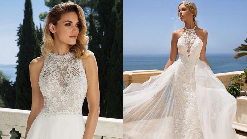 Suknia ślubna z dekoltem typu halte...