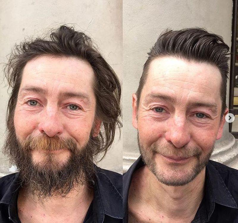 Fryzjer zrobił darmową metamorfozę bezdomnym ludziom - 2