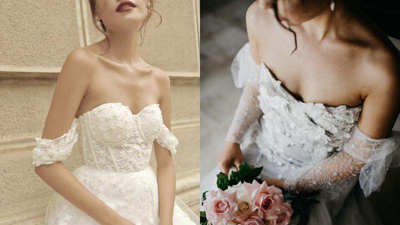 Suknia ślubna z opuszczonymi ramion...