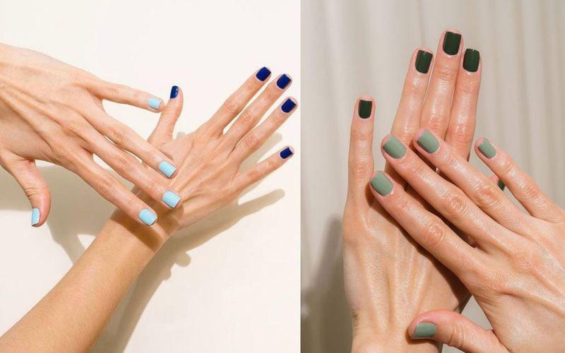 Two tone nails. Oryginalny manicure dla wiecznie niezdecydowanych dziewczyn - zdjęcie 1